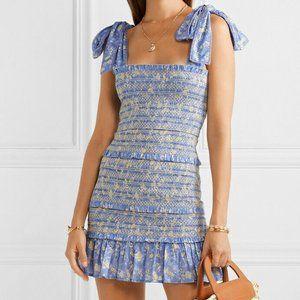 NWT Loveshackfancy Belle dress blue floral L
